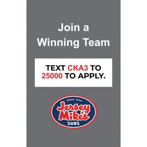 Jersey Mike's New Hire Window Cling – 32″ W x 50″ H