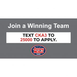 Jersey Mike's New Hire Window Cling – 46″ W x 24″ H
